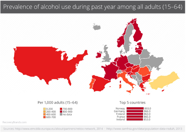 Map of alcohol use in USA and Europe