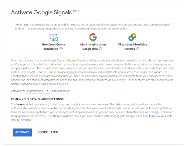 Activate Google Signals Beta Screenshot