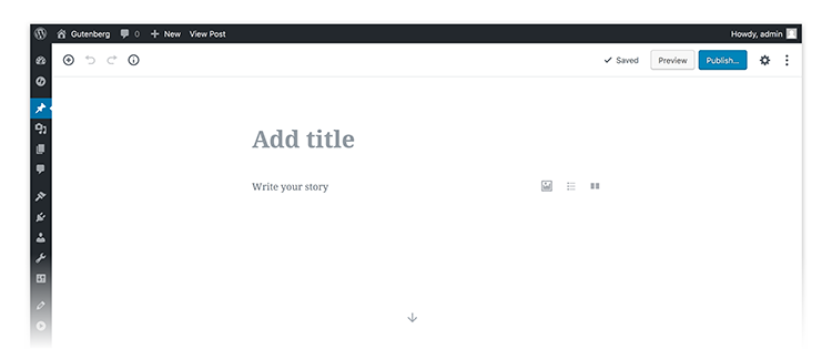 Illustration of the screen on WordPress 5.0
