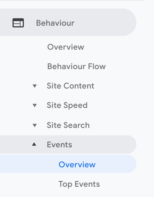Where to find the Events menu in Google Analytics under Behaviour srcset=