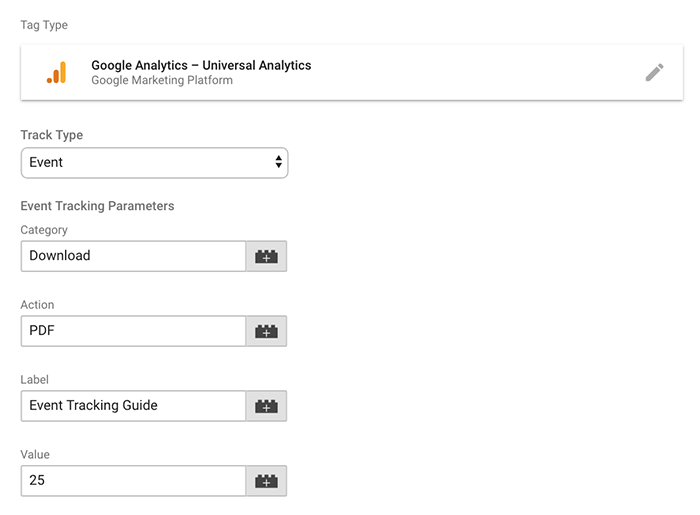 Configuring the Google Analytics tag type