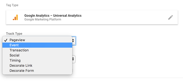 Define the Event track type in Google Analytics