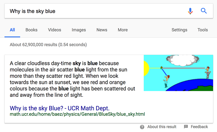 Example of a featured snippet in Google