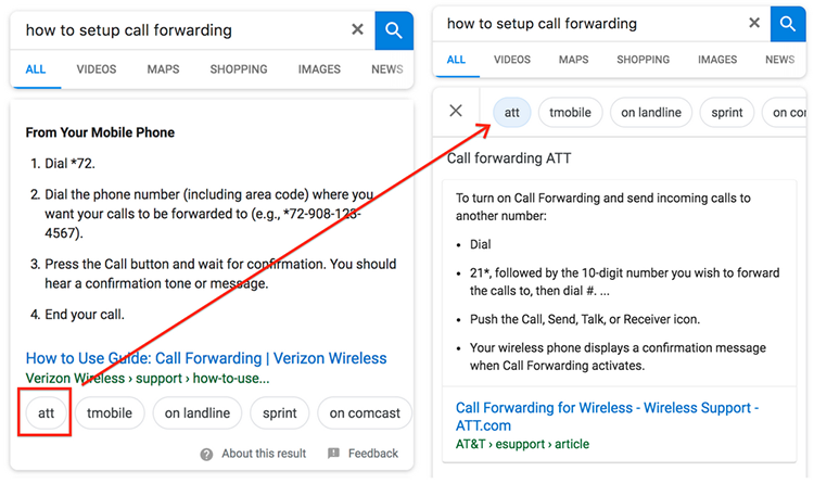 Featured snippets with alternative answers