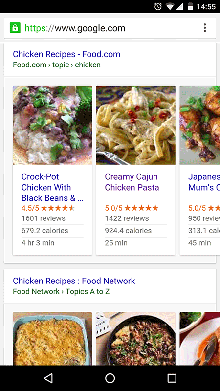 Chicken recipes shown in carousel using structured data