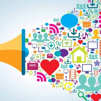 Megaphone showing social media marketing
