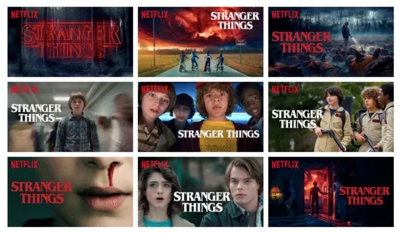 Various content images for Stranger Things on Netflix
