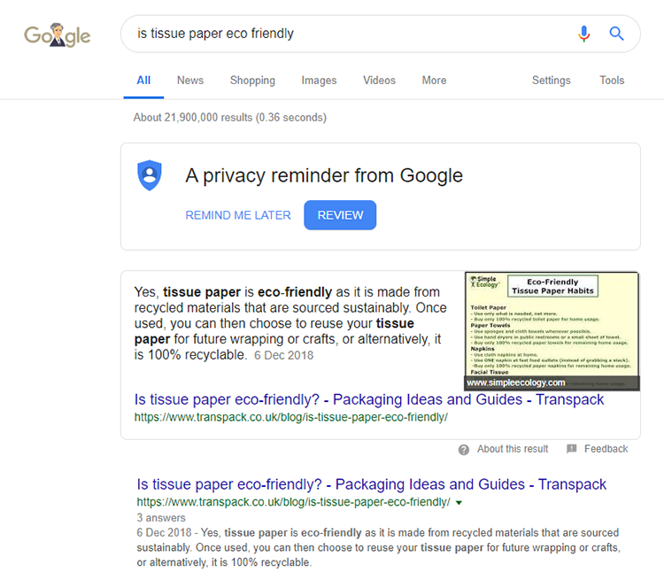 Example of how structured data can result in a featured snippet
