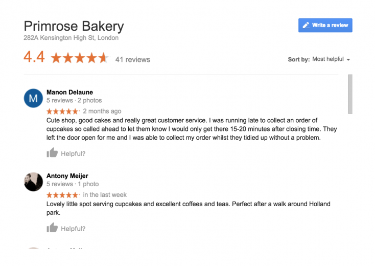Reviews of a bakery