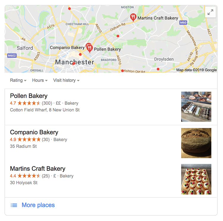 Local search results in Google