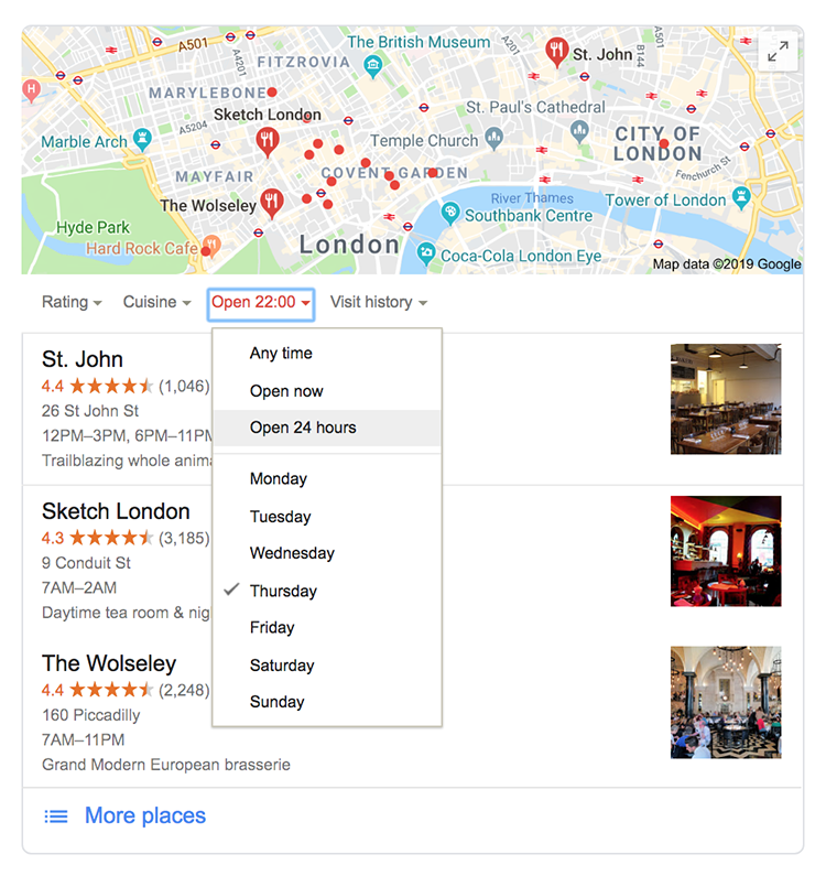 Local search results showing London hotels