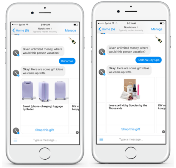 Nordstrom chatbot showing a conversation