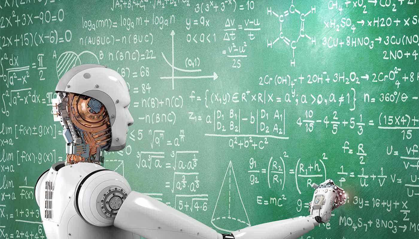 robot drawing formulas on chalkboard