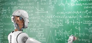 robot drawing formulas on chalkboard