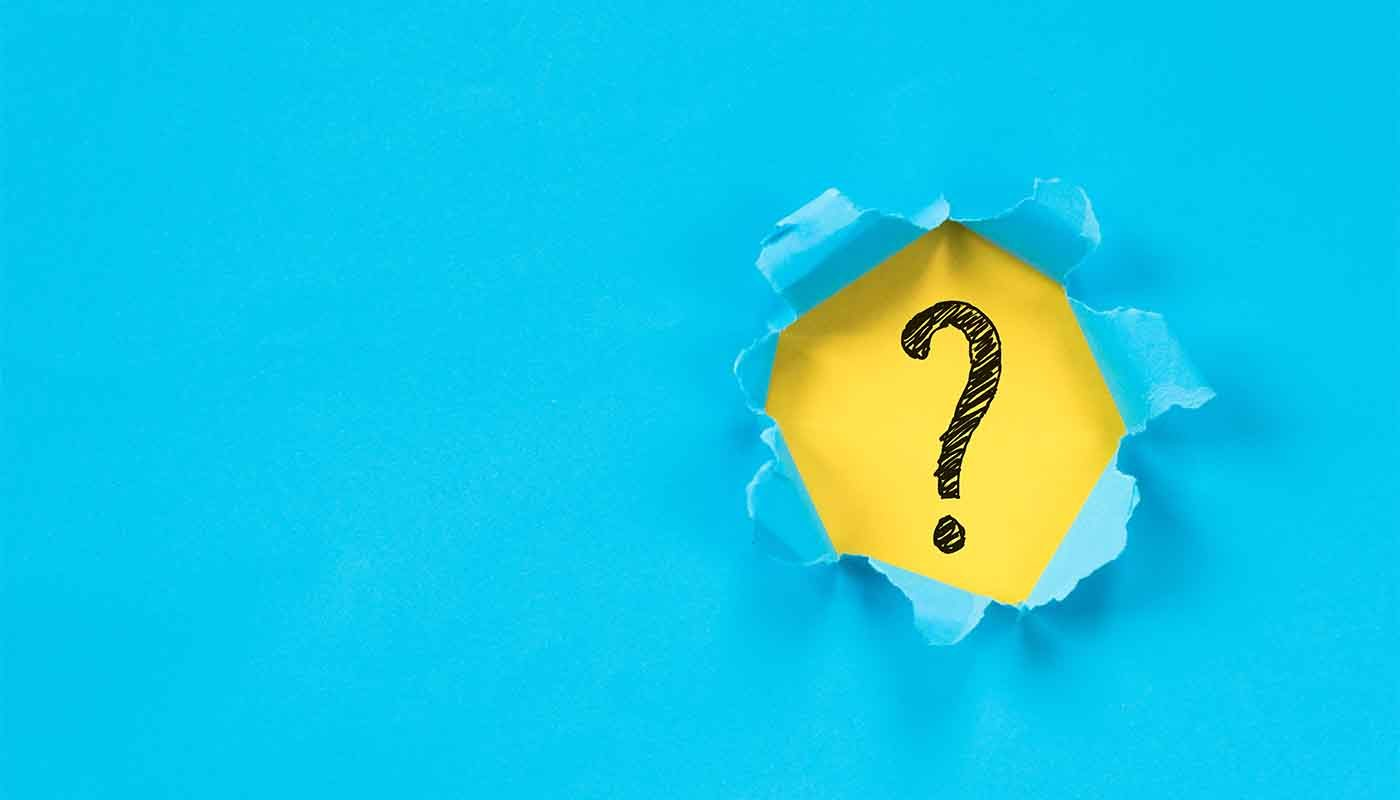 blue background with question mark