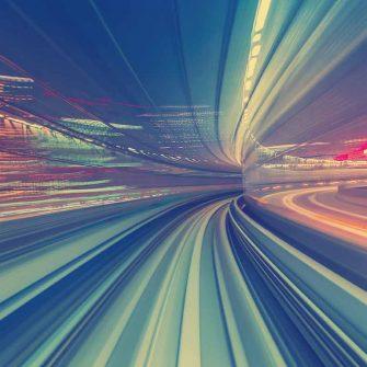 Bright dashing lights denoting high speed