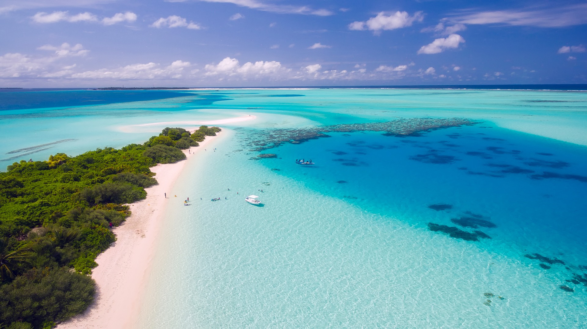 Beach in the maldives with white sand and stunning blue water