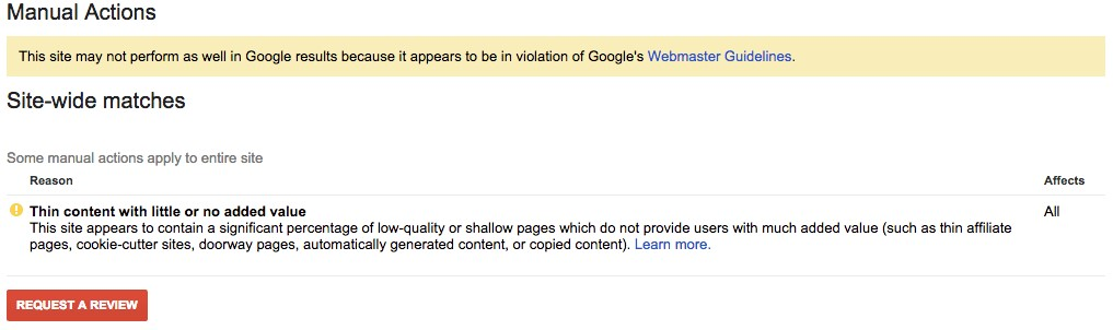 manual penalty warning from Google