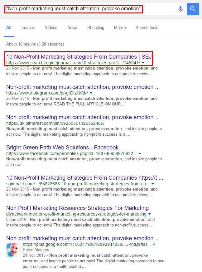 search results looking for duplicate content on Google