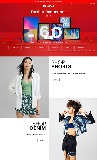 Pull and Bear landing page