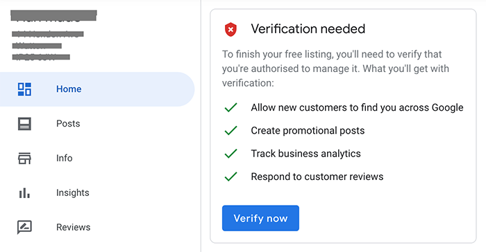 google my business verification screen