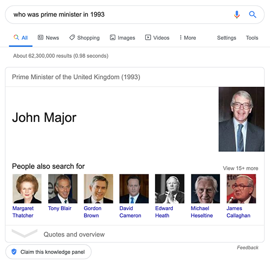 knowledge graph for 'who was prime minister in 1993'