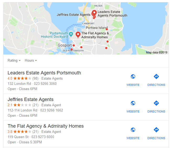 google local seo search results