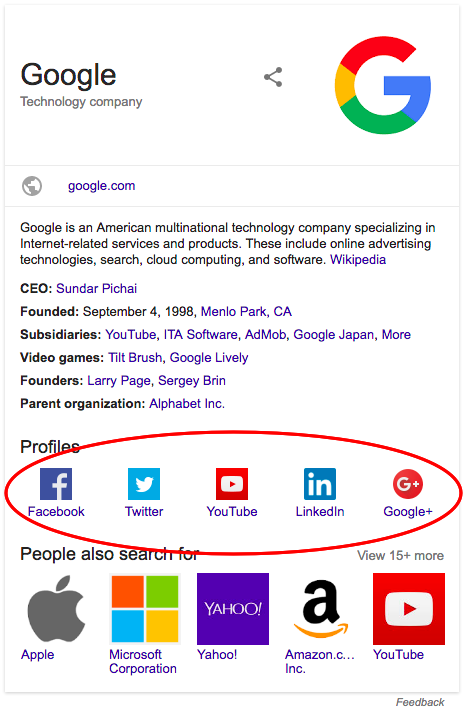 Google's Knowledge Panel showing all the social media profiles linked