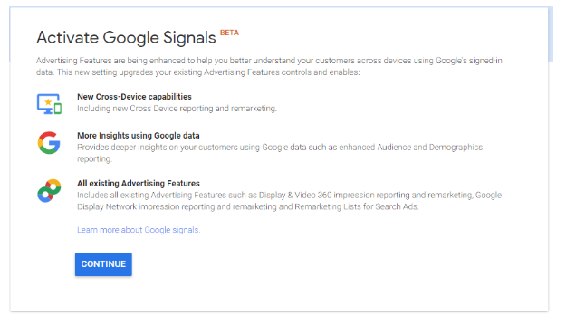 Options when activating Google Signals