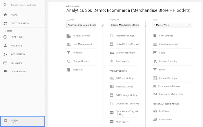 The admin section in Google Analytics