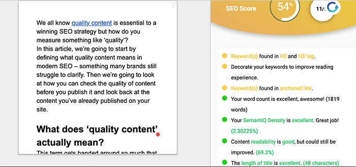 screenshot of contentseochecker.com