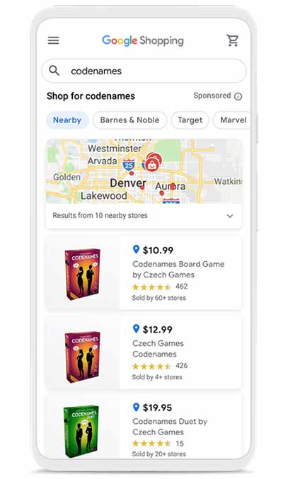 Google shopping showing local places on a map where the product is available