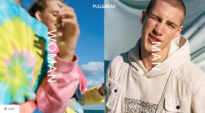 Pull & Bear homepage showing how it segments traffic to women and men