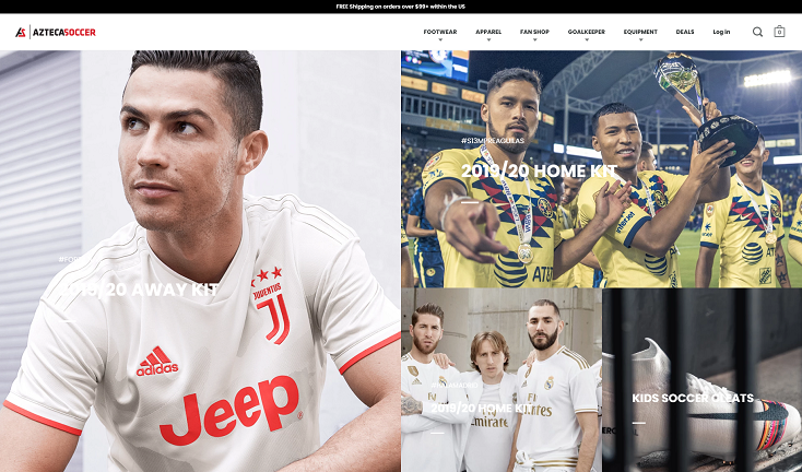 Azteca Soccer's e-commerce homepage showing menu with one-click navigation to the product pages