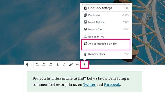 Gutenberg add to reusable blocks option