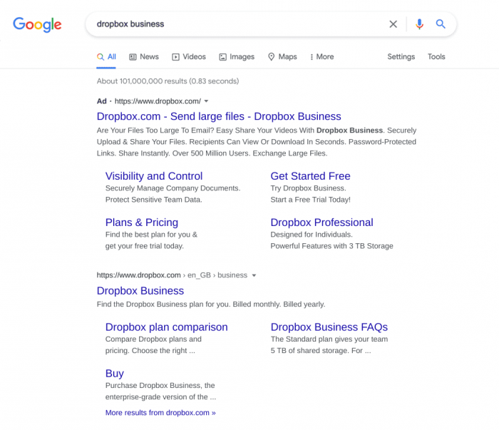 search results for Dropbox business