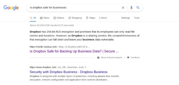 Dropbox competitor targeting Dropbox keywords