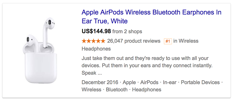 Google product ratings showing in search result for Apple airpods