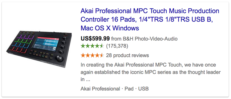 Google product ratings showing in advert for music production controller