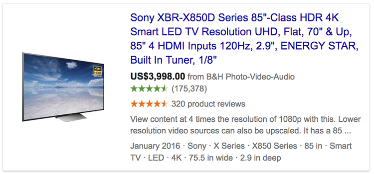 Google product ratings showing in advert for Sony TV