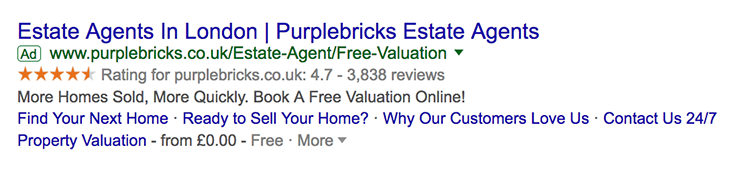 Google seller ratings showing in listing for estate agents