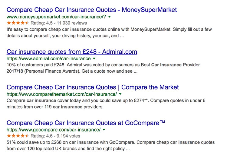 Google seller ratings showing in search results for car insurance