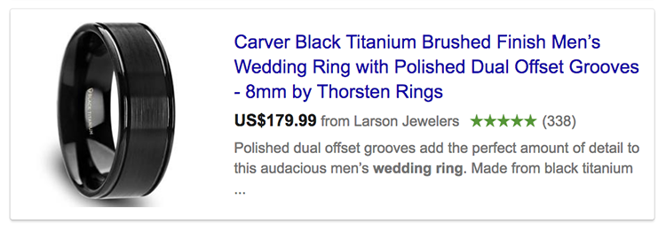 Google seller ratings showing in an advert for wedding ring
