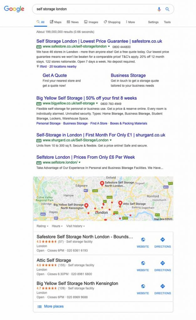 Search results for 'self storage london' showing mix of PPC and SEO listings mixed together.