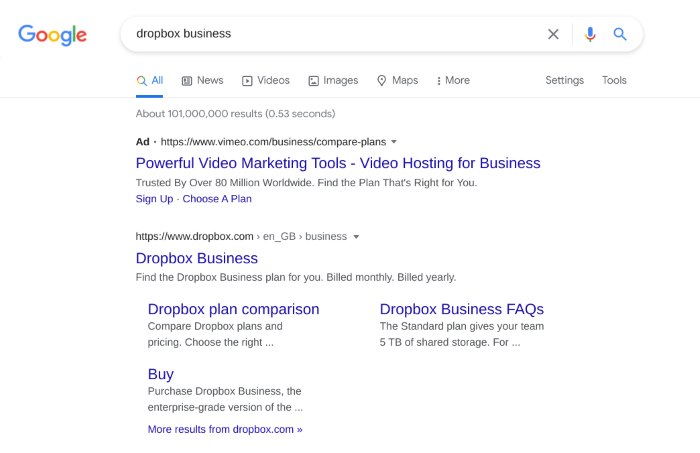 Dropbox competitor targeting 'dropbox' in their PPC ads