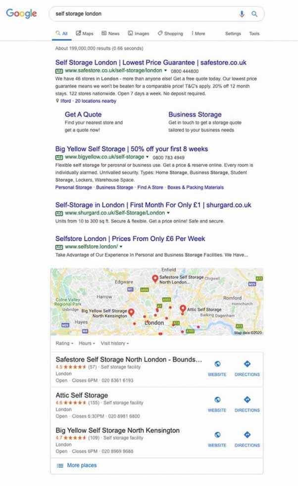 Search results for self storage london