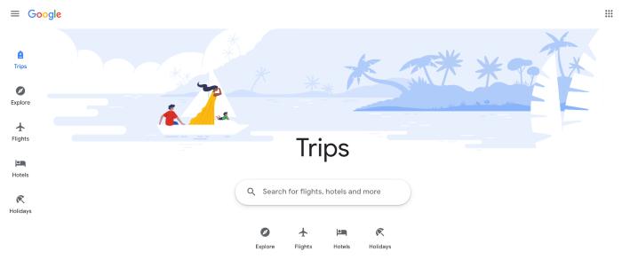 Google Trips homepage