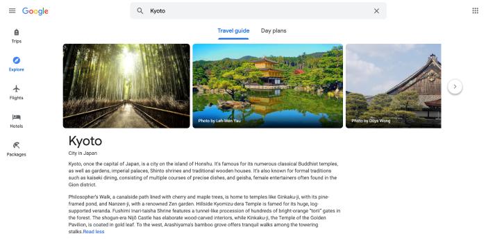 Google Trips location summary