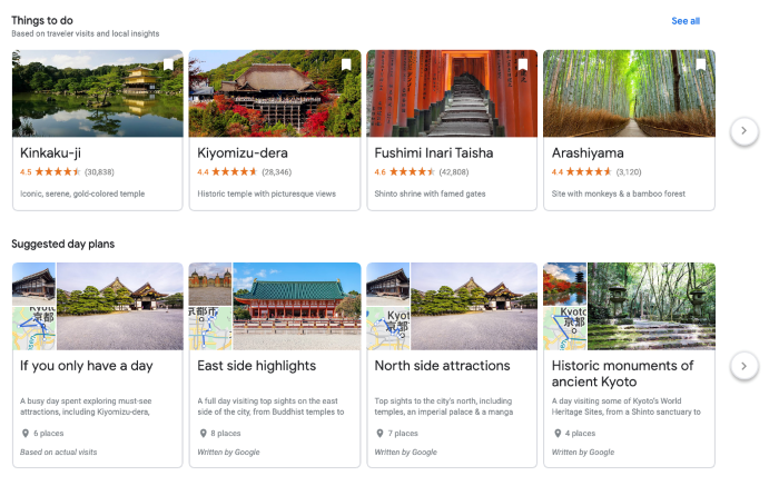 Google Trips things to do