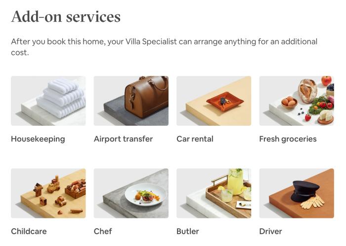 Luxury Retreats add-on services